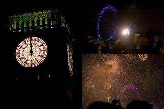 Big Ben anunciando o novo ano e os fogos de artifício
