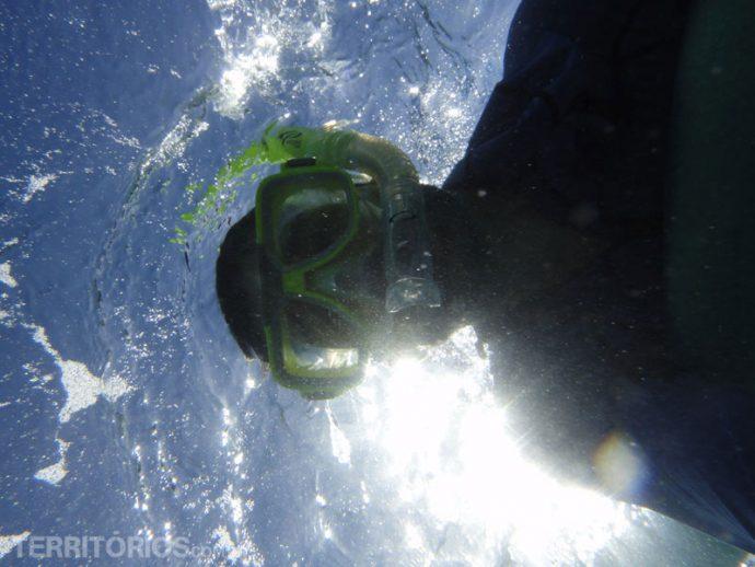 Leandro fazendo snorkel