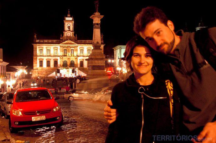 Eu e Leandro na Praça Tiradentes