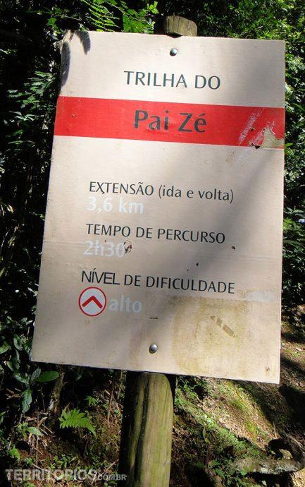 Sinalização de uma das trilhas de São Paulo