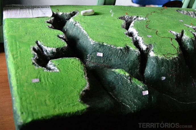 Maquete da vista aérea dos cânions