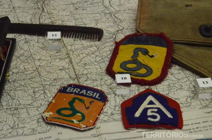 Mapa e brasões são a história do Brasil na II Guerra Mundial