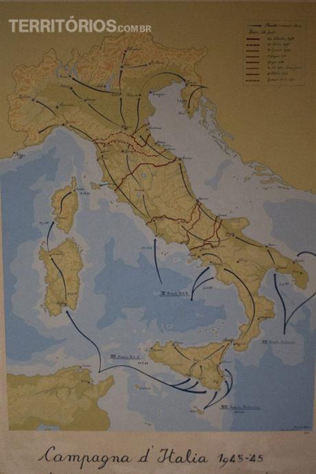 Painel mostra o avanço dos aliados na Itália