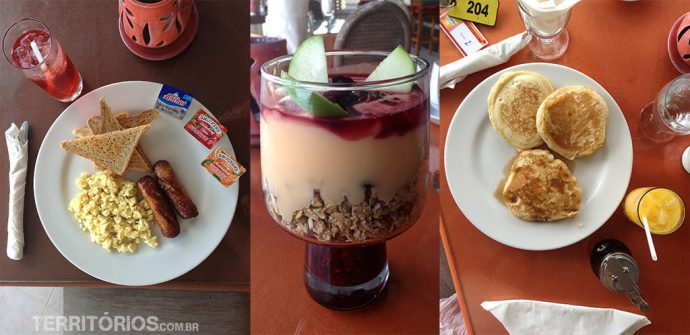 O café da manhã, iogurte com frutas vermelhas do meio foi o melhor