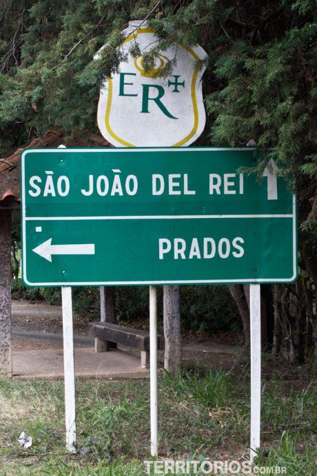 Sinalização da Estrada Real na rodovia