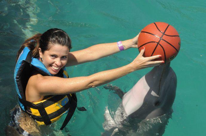 Brincadeiras na água em Isla Mujeres