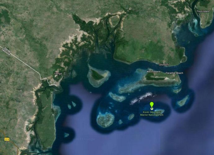 Localização do Kisite Mpunguti Marine Reserve