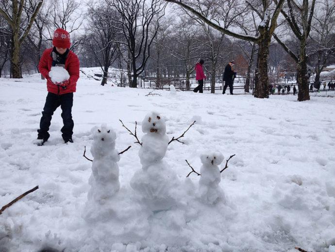 Brincadeiras no inverno em Nova York