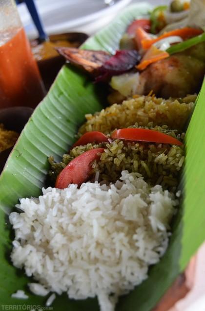 Três tipos de arroz: cuxá, camarão e branco.