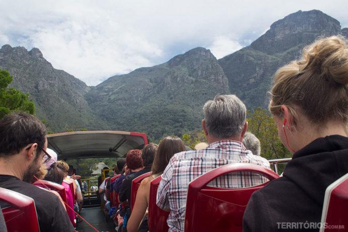 No andar de cima do Blue Mini Peninsula Tour, em Cape Town