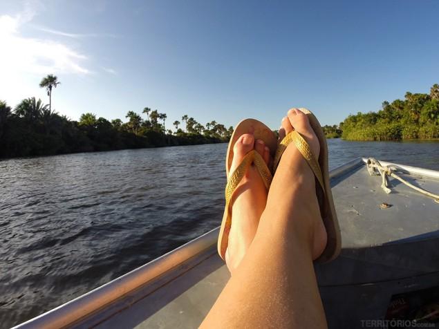 Transporte de barco pelo Rio Preguiças