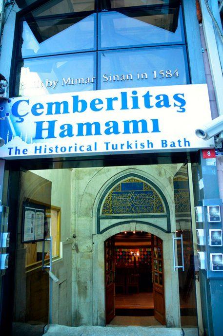 Fachada do histórico banho turco