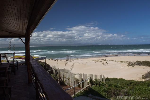 Vista da varanda do nosso quarto em Jeffreys Bay