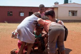 Eles me puxavam até o chão para ver as fotos da Suazilândia