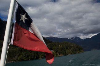 Bandeira Chile no Cruce Andino