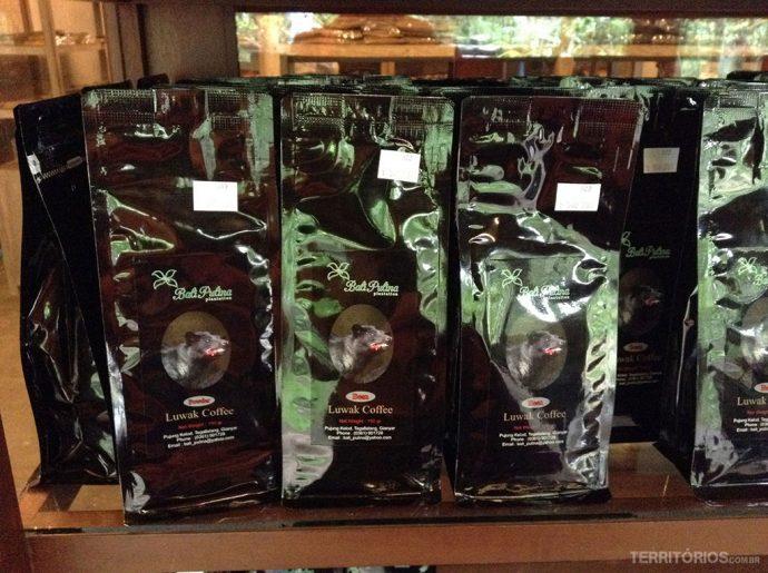 Luwak coffee embalado na loja