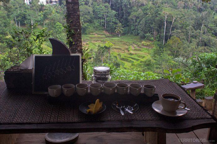 Chás, chocolate, cafés e banana frita na degustação
