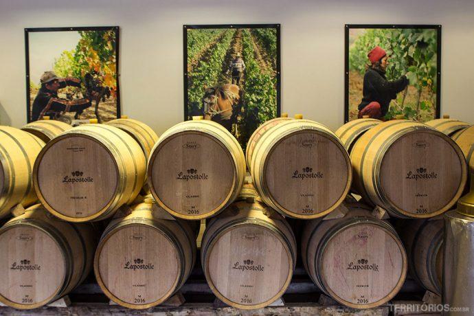 O trabalho artesanal feito pelas mulheres é exibido nas paredes da vinícola Lapostolle