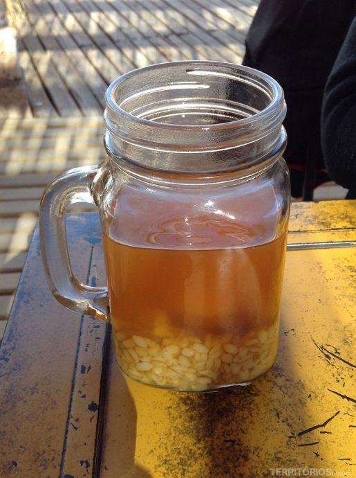 Doce de milho com pêssego típico do Chile