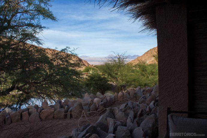 A vista do meu terraço no melhor hotel no Atacama