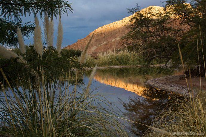 O lago dentro do melhor hotel no Atacama