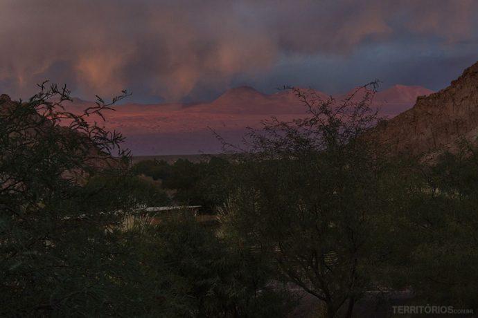 Vista no final da tarde no melhor hotel no Atacama