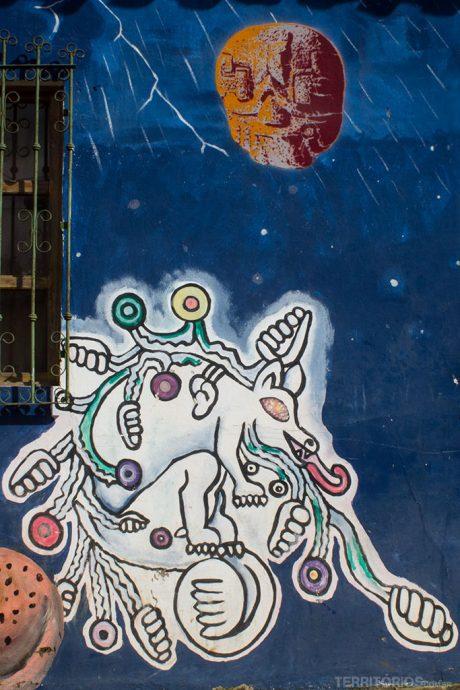 Arte de rua em em parede de casa em Concepción de Ataco