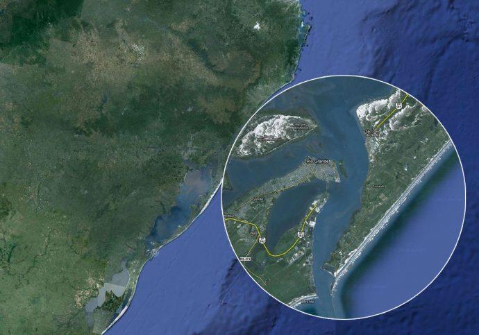 São José do Norte no mapa do Rio Grande do Sul