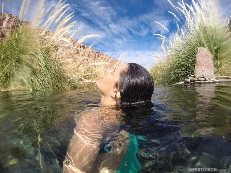 Parece verão, mas foi um banho em água termal no inverno