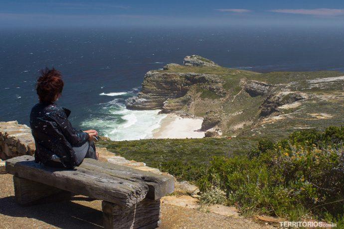 Protegida do vento no Cabo da Boa Esperança