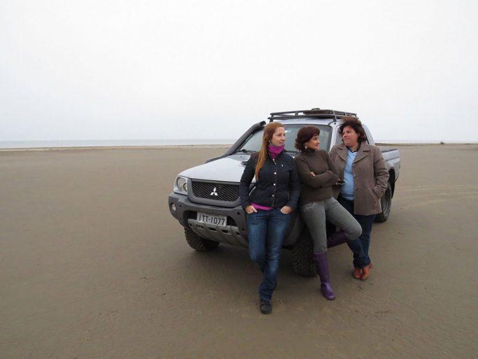 Durante a viagem de carro entre amigas para descobrir os atrativos no Rio Grande do Sul