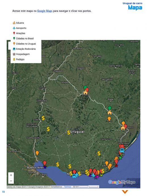 Mapa no guiaUruguai de Carro