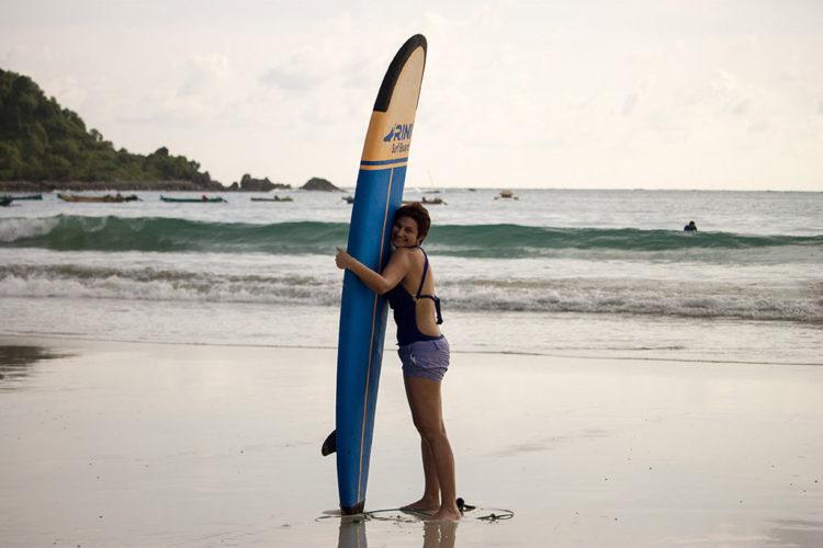 Aula de surf em Lombok