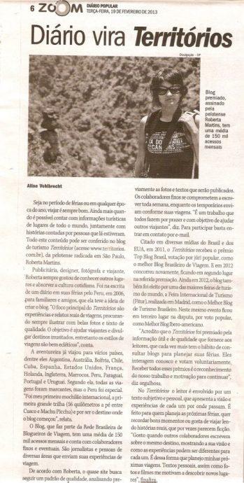 Recorte jornal Diário Popular