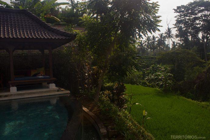 Villa privativa com vista para a plantação de arroz