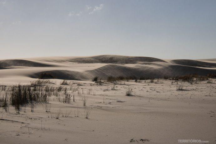 Vento faz as dunas mudarem de lugar no Parque Nacional da Lagoa do Peixe