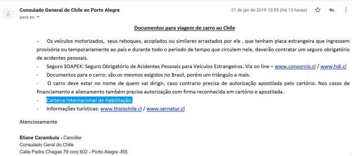 Resposta do Consulado do Chile sobre obrigatoriedade da Permissão Internacional para Dirigir (PID)