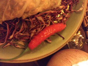 Prato com pimenta e legumes