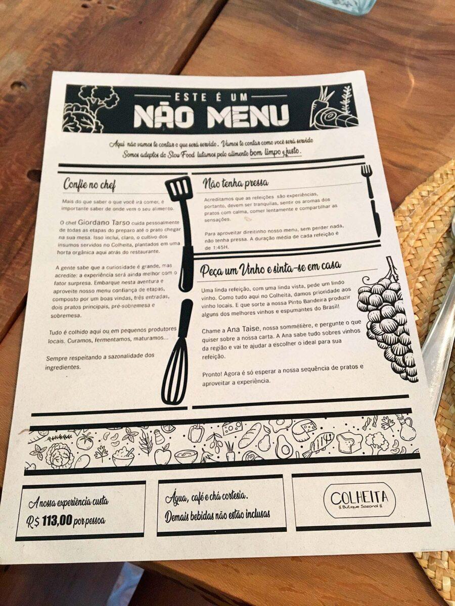 Um ''não menu'' é apresentado aos clientes