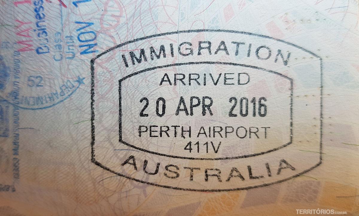 Carimbo no passaporte ao entrar na Austrália