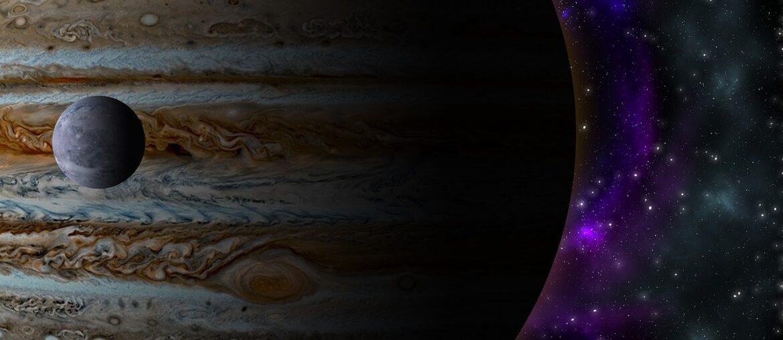 Ilustração de Júpiter no universo