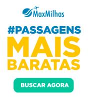 Banner Maxmilhas. Clique leva para o site para buscar passagens mais baratas comprando milhas