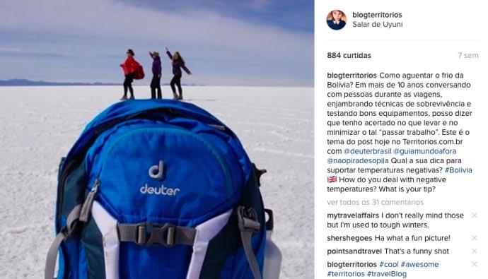 Deuter enviou mochila para viagem à Bolívia